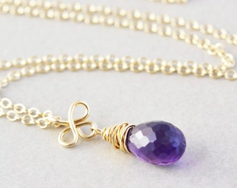 Amethyst Drop Necklace, February Birthstone Jewelry, Gemstone Necklace