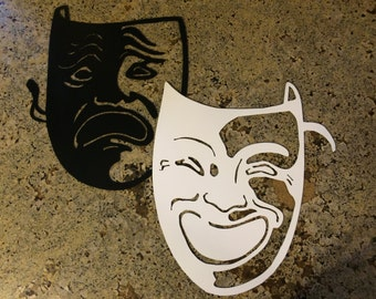 Pair of Comedy and Tragedy Theater Masks - plasma cut metal art