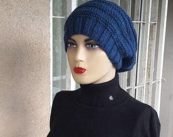 Navy blue beanie hat, wool knit hat,   wool beanie, royal blue knit hat, blue winter hat, blue winter hat, royal blue hat, blue slouchy hat