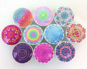 Set of 10 Haight Ashbury Mandala Cabinet Knobs