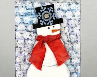Snowman tag, Christmas tag, winter tag, snowman ornament, snowman decor, handmade tag, mixed media snowman, mixed media tag