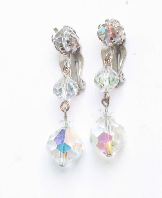 Aurora Borealis Crystal Bead Dangle Earrings Clip On Wedding Special Occasion Vintage Earrings