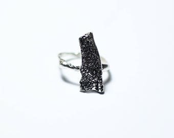 Anello Donna in Argento 925 / Textured and Oxidized Ring / Rustic Jewelry / Rustic Ring / Textured and Deeply Oxidized Ring / For Her