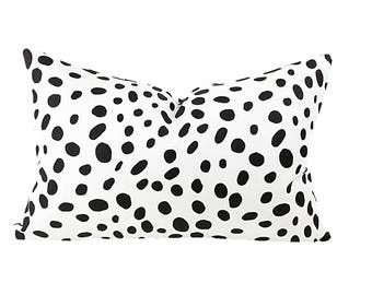 Dalmatian Spot Lumbar Pillow Cover, Decorative Pillow Cover, Black and White Pillow Cover, Lumbar Pillows, Sofa Pillows, Cushion Pillows