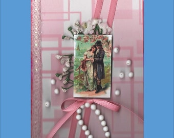Hand Decorated Journal or Guestbook Victorian or Floral or Cat- 5 variations - Free Ship in USA