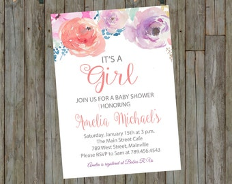 Watercolor, Floral, Baby Shower, Girl, Invitation - Printable or Printed