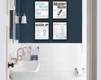 Bathroom Wall Decor Kids, Bathroom Kids Wall Art, Bathroom Kids Sign, Kids Bathroom Wall Decor, Bathroom Wall Decor, Brush Floss Flush