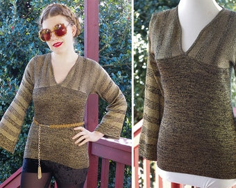 Foxy CLEOPATRA 1970's Vintage Heathered Lurex Metallic Gold + Black Sweater w/ Bell Sleeves // size Small // by KALDOR'S Knit Berkeley