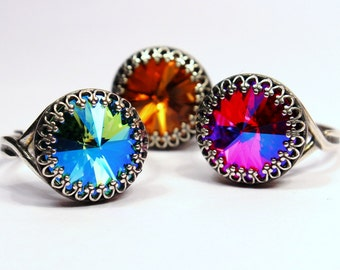 Swarovski Crystal Cocktail Ring Turquoise Blue Dark Hot Fuchsia Pink Fiery Topaz Orange Metallic Crown You Choose Color and Finish Sparkle