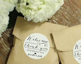 24 Paper Favor Bags - Welcome Family and Friends Label | Wedding Favor Bags | Wedding Welcome Favor Bags | Kraft Favor Bag | Wedding Weekend