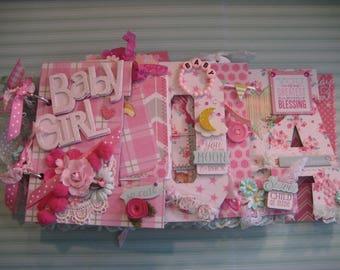 Custom Name Chipboard Scrapbook Album, 4 Letters, Baby Girl Scrapbook
