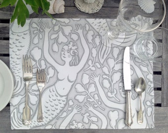 SET OF 4 Gray Mermaid Linen Placemat, Gray and White, Table Linens, Place Setting, Sophisticated Mermaid, Seaside, Coastal, Decor, Seashore