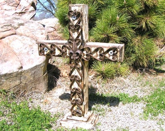 LARGE Wood and Iron Christian Cross Rustic with Cast Iron Fleur d Lis Custom made USA 0315