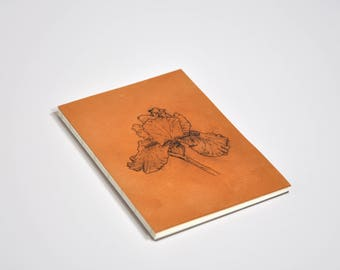 "Tattooed leather notebook, pattern ""Iris"""