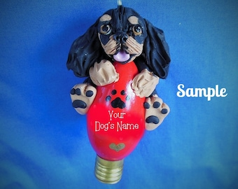 Cavalier King Charles Spaniel dog Christmas Holidays Light Bulb Ornament Sally's Bits of Clay PERSONALIZED FREE with dog's name