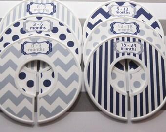 Custom Baby Closet Dividers Navy Nursery Gray Nursery Chevron Stripes Dots Clothes Organizers Baby Shower Gift Baby Boy Gift