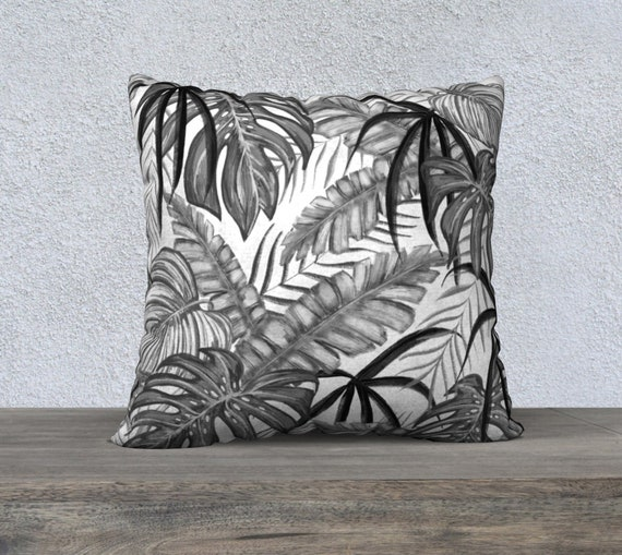 black and white tropical leaves pillow cover size 22x22 inches