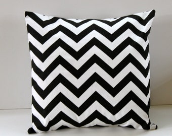 Black and White Chevron Pillow Cover- Black and White Decorative Couch Pillow 16x16- Ready to Ship