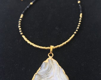 Galaxy Druzy Pendant Necklace Gold Black Beads Quartz Agate