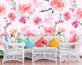 Peony Wallpaper, Watercolor Flowers Wallpaper, Self adhesive Wallpaper Girl Nursery, Peony Flower Mural Wallpaper, Non Woven Wallpaper WP59