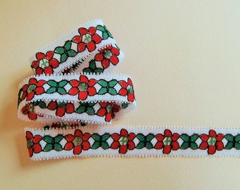 Braid G20 - White, red and green floral stripe