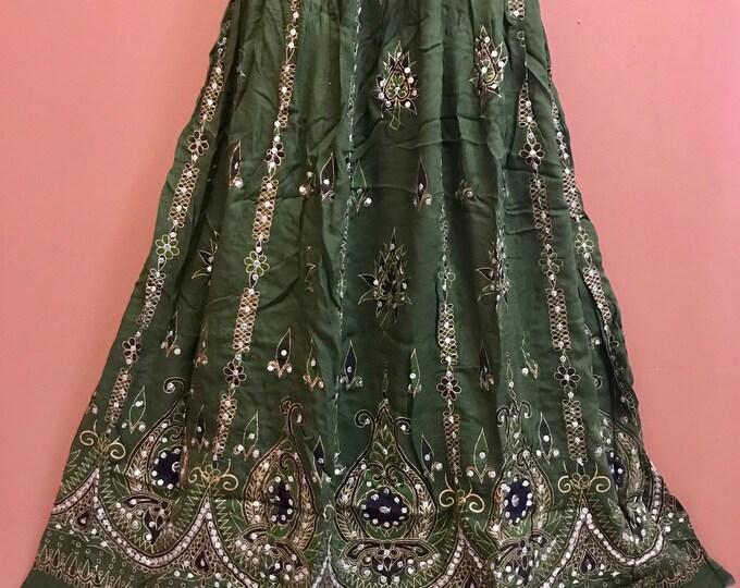 Sparkling Green Skirt, Boho Gypsy Skirt, Bollywood India Party Skirt, Long Sequin Belly Dance Skirt, Summer Skirt, Bohemian Skirt Dress