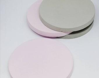 Concrete Coasters - Set of 4 Concrete Cement Coasters. Pink and Grey. concrete homeware
