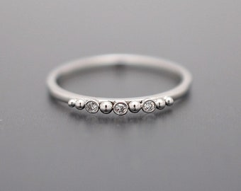 Tiny Diamond and Gold Bead Stacking Ring