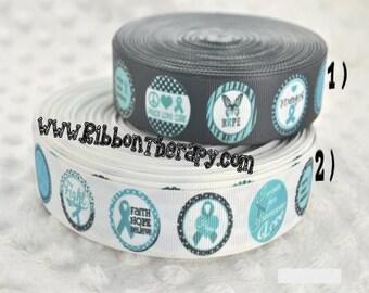 3 yards Ovarian Cancer Awareness Ribbon - 1 inch Printed Grosgrain Ribbon