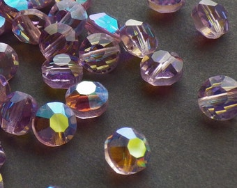 20 Vintage Swarovski Crystal Beads, 6mm Light Amethyst With Aurore Boreale Finish, Article 335 Also Known As 5100, Purple Crystal Beads