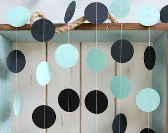 Mint Green and Black 12 ft Circle Paper Garland- Wedding, Birthday, Bridal Shower, Baby Shower, Party Decorations
