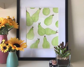 Original A4 Pear Watercolour painting
