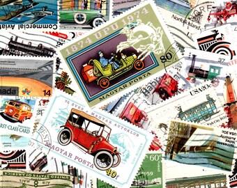 30 Assorted Vehicles Vintage Postage Stamps