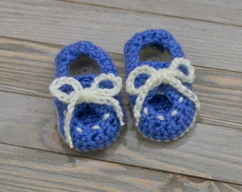 Crocheted Deck Booties - Baby Boy's Blue Boat Shoes