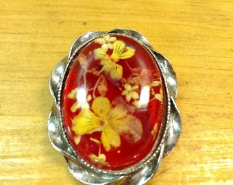 Vintage Silver and Resin Brooch with Pansy Flowers