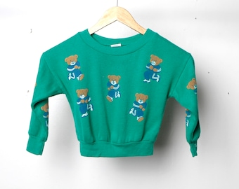 kid's vintage 80s BEARS jazzercise yoga teal SWEATSHIRT size 4t t shirt top
