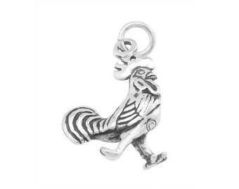 Sterling Silver Rooster Charm (3d Charm)