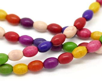 Howlite Rice Beads Gemstones- Colourful 8x6mm, 25 beads