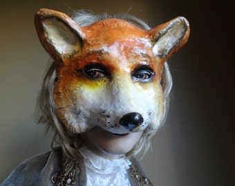 Alice in Wonderland Paper mache animal mask fox mask fox costume