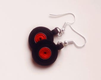 Quilled vinyl record earrings