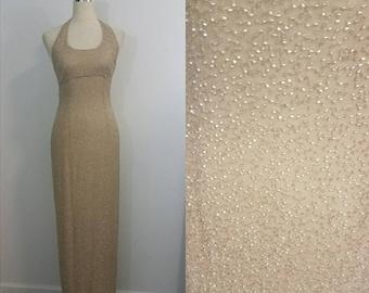 Beaded Formal Beaded Gown/ Halter