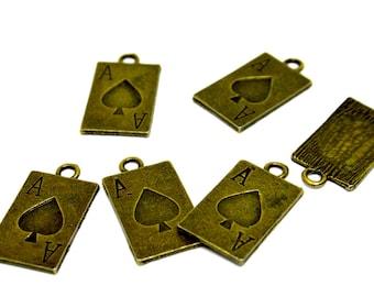 1  CARD - ALICE- Heart -  Antique  Bronze Charm - Pendants