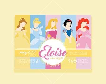 Disney Princess Invitation, Disney Princesses, Disney, Belle Invitation, Cinderella, Aurora, Snow White, Ariel, Princess Party, Birthday