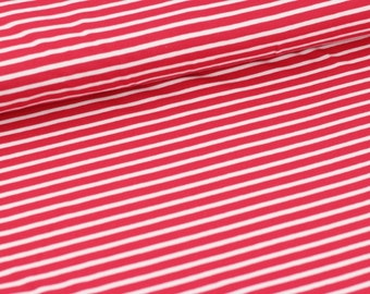 ORGANIC KNIT Fabric - Lollipop Red Stripes - UK Seller