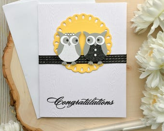 Handmade Wedding Card, Wedding Card, Owl Wedding Card, Handmade Owl Card, Wedding Owl Card,  Bride and Groom, Mr and Mrs Card, Mr and Mrs