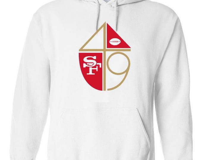 San Francisco 49ers White Hoodie Vintage Style Logo Hooded Sweatshirt