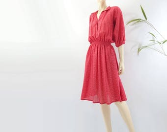 Vintage Red Dress 80s Red Dress 1980s Day Dress Cotton Dress Polka Dot Dress Vintage Midi Dress Batwing Sleeve Dress xs