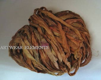 Pure Sari Silk, Squash Curry Mix, Per Yard, Recycled Sari Silk, Fair, Textile, Ribbon, Yarn, Silk, Sari silk, ArtWear Elements, 218