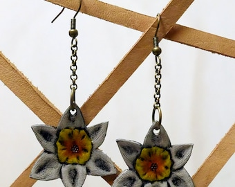 Hand-Tooled Leather Daffodil Earrings - Ready to ship!
