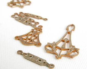 Vintaj Connector Filigree Craft Supplies Findings Natural Brass Pendants Set of 8
